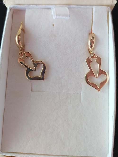 The Mystical Heart Earrings - Yellow Gold - Large