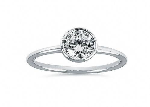 Platinum - Round Diamond Bezel Setting Diamond Engagement Ring