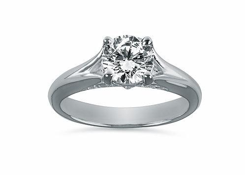 Platinum - Round Split Shank Underneath Halo Diamond Engagement Ring