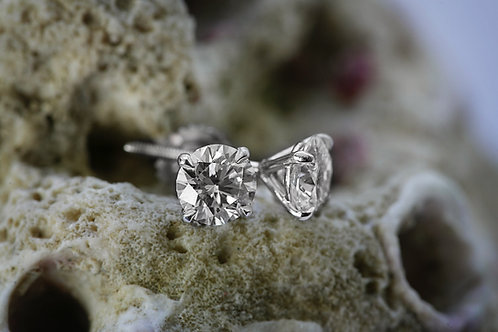 Four Prong Martini Set Diamond Stud Earrings
