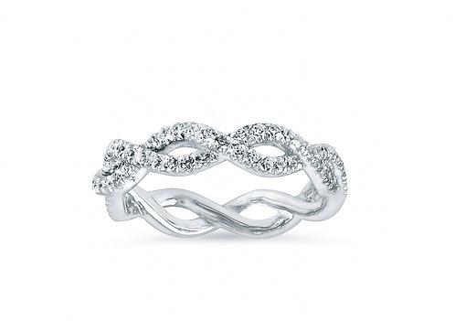 Platinum - Micro Pave Twist Diamond Wedding Band