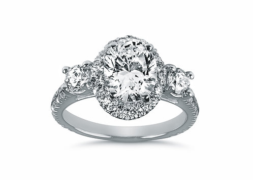 Platinum - Combination Oval & Round Diamond Engagement Ring