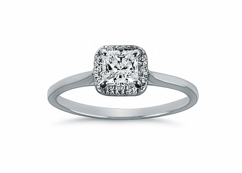 Platinum - Princess Cut Halo Diamond Engagement Ring