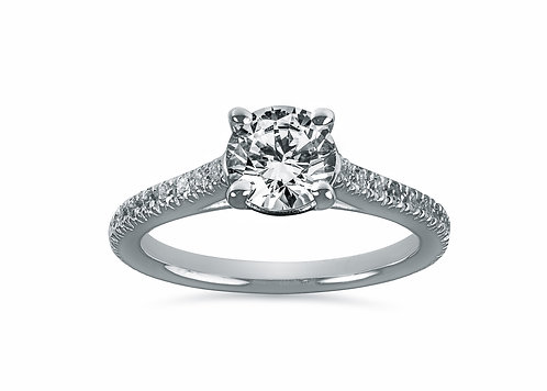 Round Diamond Eternity Cathedral Diamond Engagement Ring