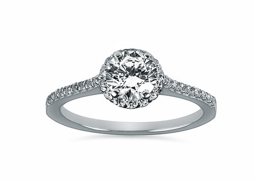 Platinum - Round Halo Diamond Engagement Ring