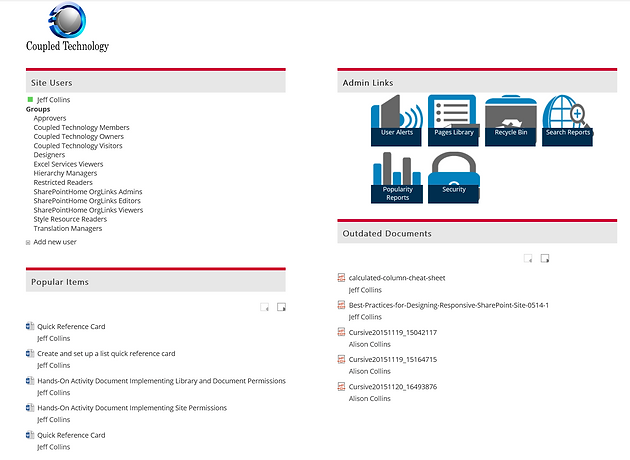 SharePoint Site Admin Pages -