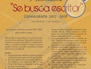 "Convocatoria ""Se busca escritor"" 2017-2018 para novela y ensayo"