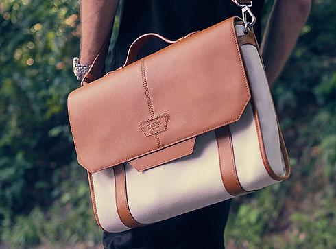 Fairmount soft briefcase Beige horizonta