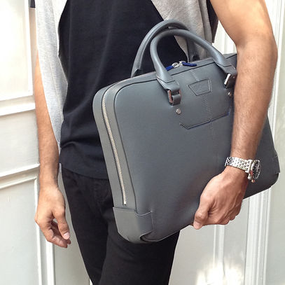 Belber Hamilton briefcase leather bag grey