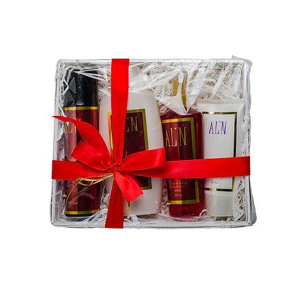 אלין מארז מתנה בסלסלה מוצרי טיפוח לאישה בניחוח היפנוטיק