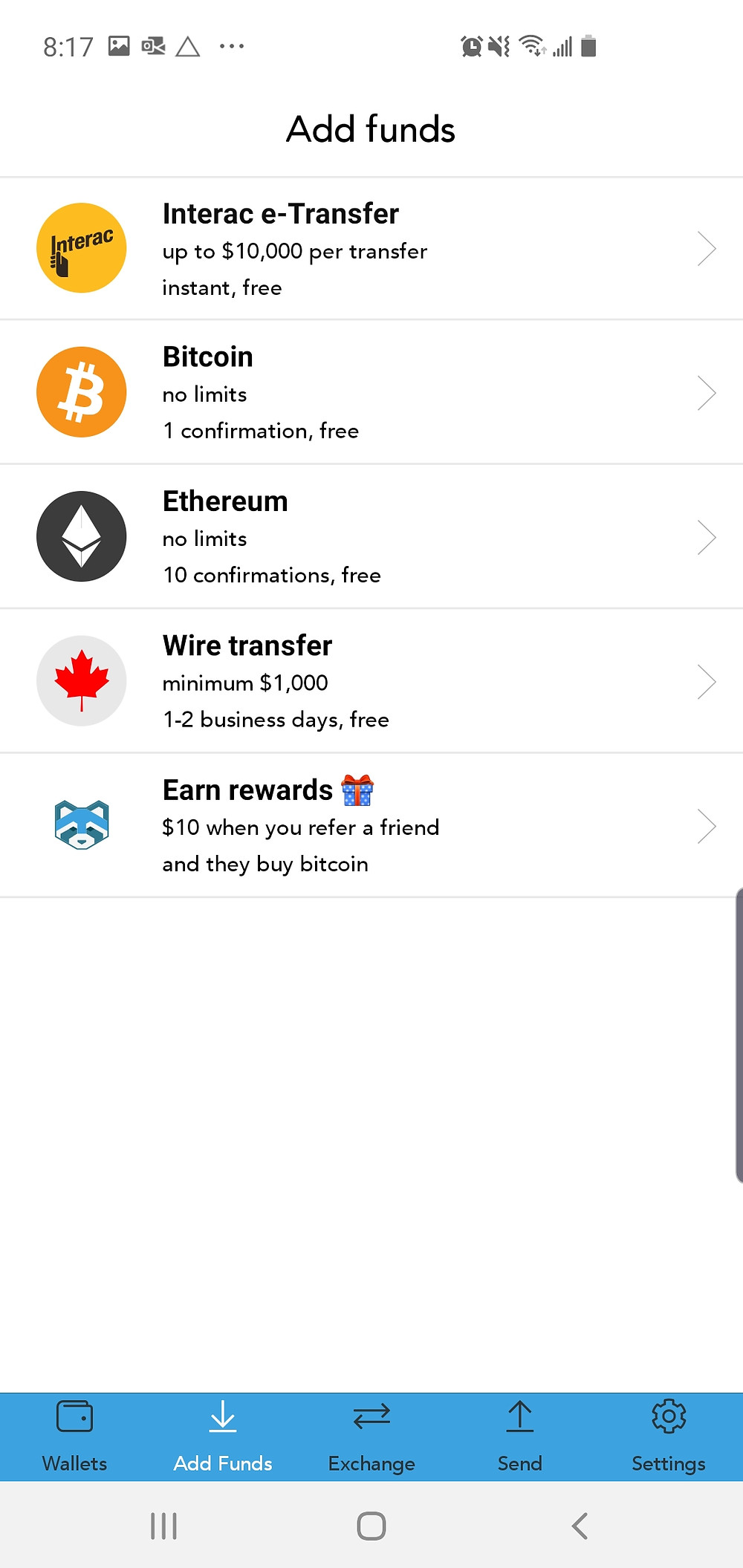 Shakepay Add Funds Screen