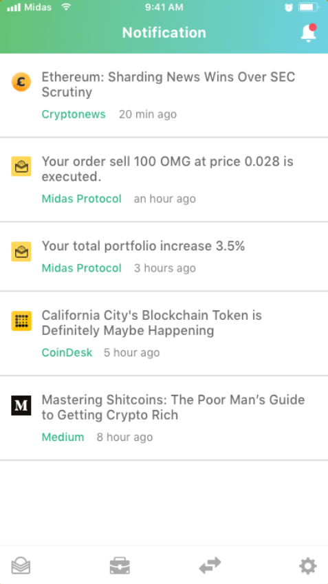 Midas Protocol Notifications