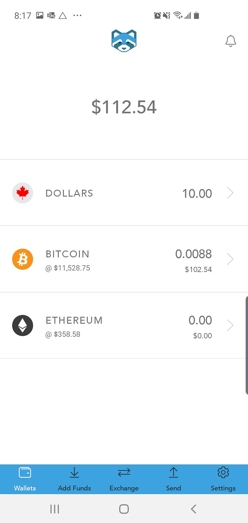 Shakepay Wallet Screen