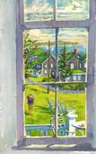 Paula through Spring House window, Block Island