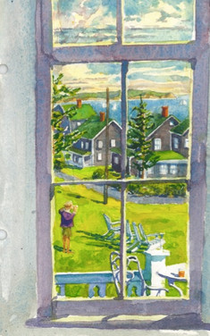 Paula through Spring House window, Block Island