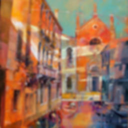 I silenzi del canale 50x50 Oil on canvas