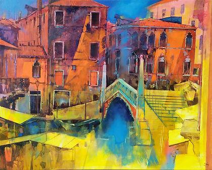 Shades of blue on Ponte delle Guglie (Venice) 100x80 Oil on canvas 2021 redmi buono.jpg