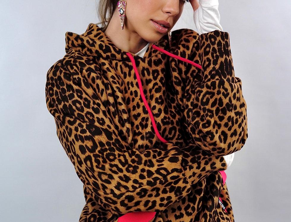 Animal leopard print hoodie with pink