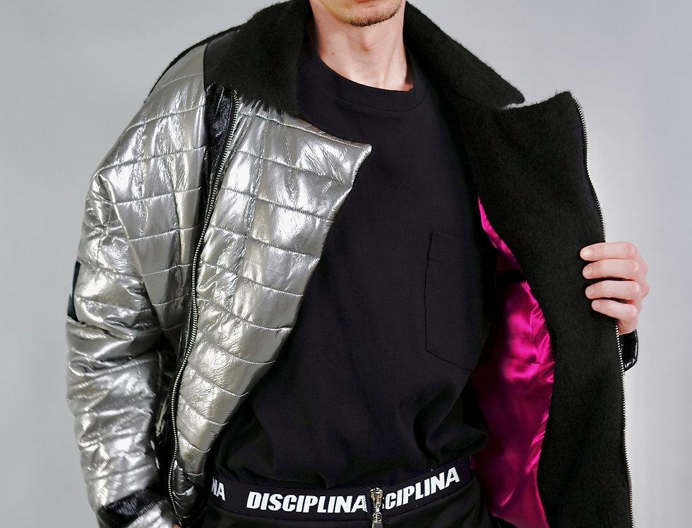 DISCIPLINA silver puffer  jacket - short / DISCIPLINA metalic siva jakna-kratka