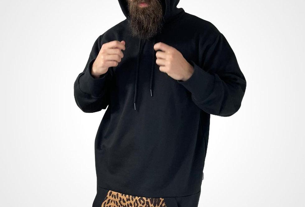 Long hoodie animal print pocket /Dugacka dukserica sa print dzepom