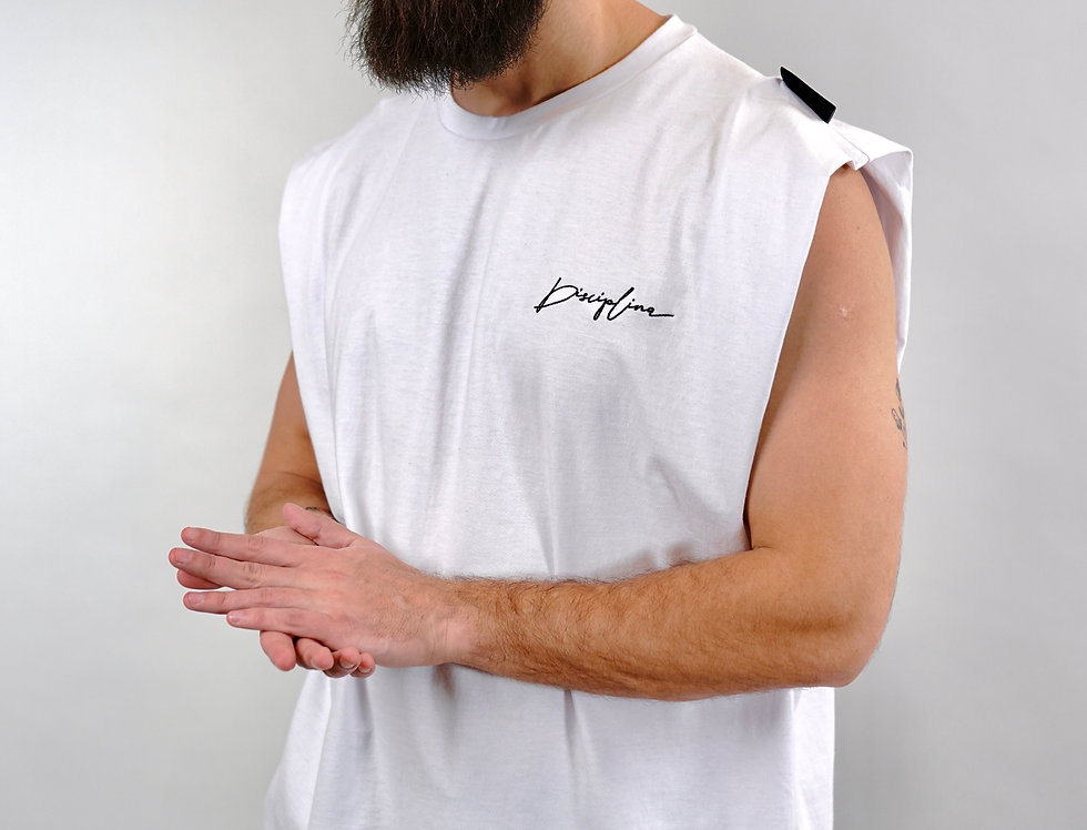 Tank top broad shoulders with embroidered logo