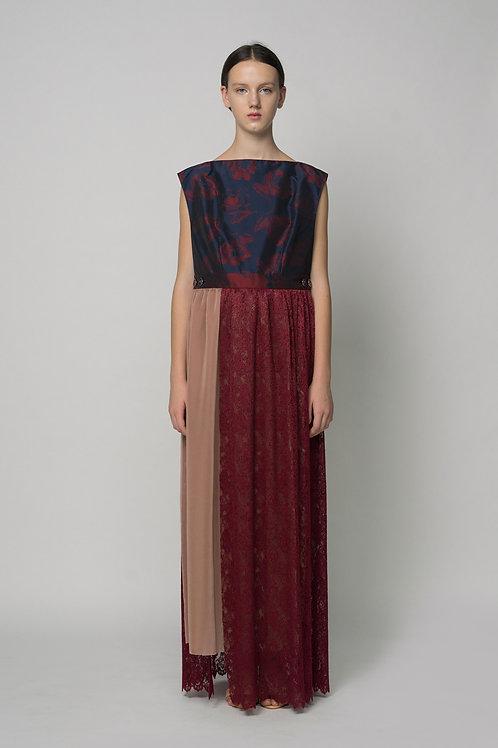 Lace Pleats Layered Flower Dress
