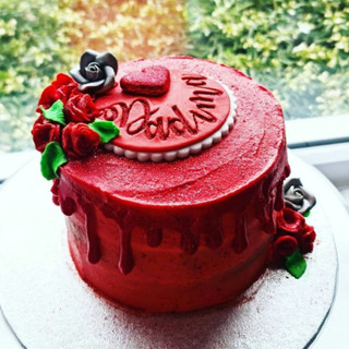 Red ganache drip cake
