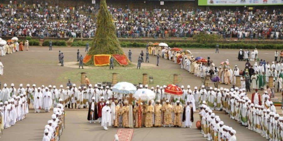 Ethiopians gather at Meskel Square to celebrate Meskel festival - The finding of the true cross