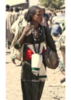 Very beautiful Ethiopian highlander women, in Lalibela market