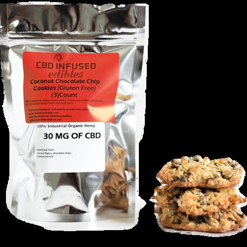 CBD Infused Edibles: Gluten Free CBD Coconut Chocolate Chip Cookie (30mg)