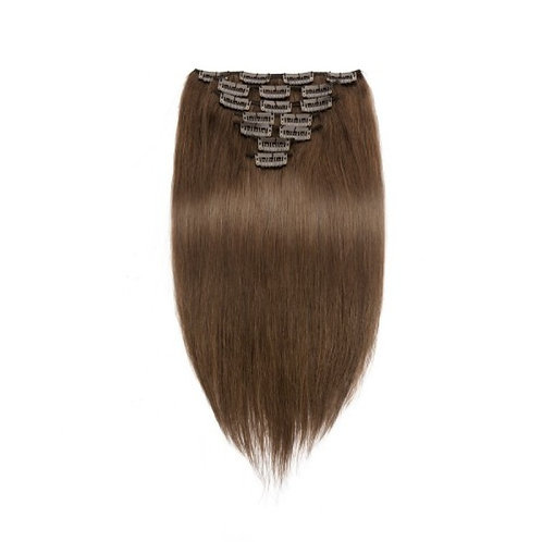 Straight 4# Clip In Medium Brown Hair Extensions