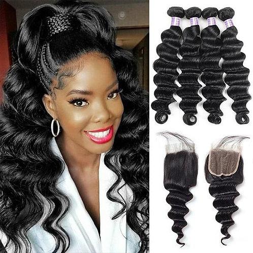 Virgin Peruvian Body Wave Hair 4 Bundles With Lace Closure