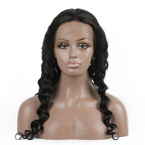 Loose Curly Peruvian Virgin Hair Lace Front Wigs