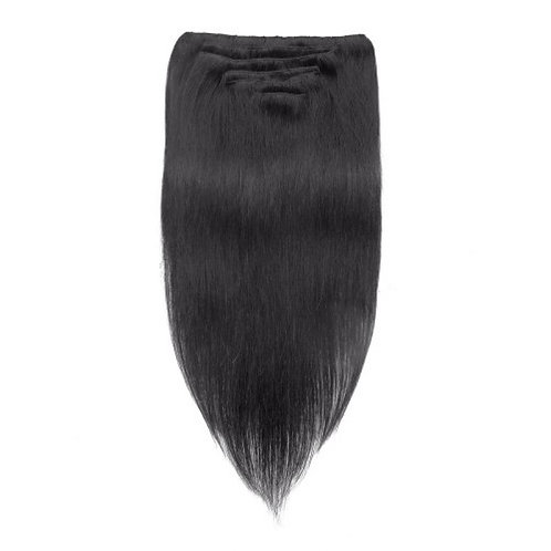 Straight 1B# Natural Black Clip In Hair Extensions