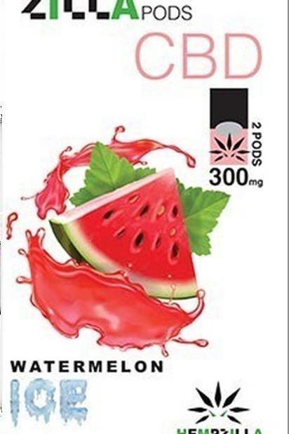 Hempzilla: Watermelon Ice CBD Zilla Vape Pods (300mg)