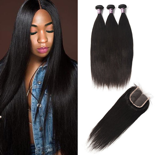 Bundles Of Brazilian Straight Hair With Lace Closure