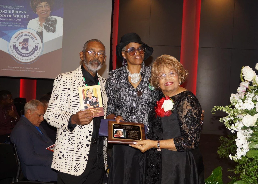 The Amelia Platts Boynton Robinson Legacy Award is presented by Cantonian Sharon Hill and Chief Leon Frazier.