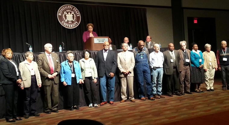 SNCC Veterans and Veterans of the Civil Rights Movement at Mississippi State University being recognized by Dr. Beverly Hogan.