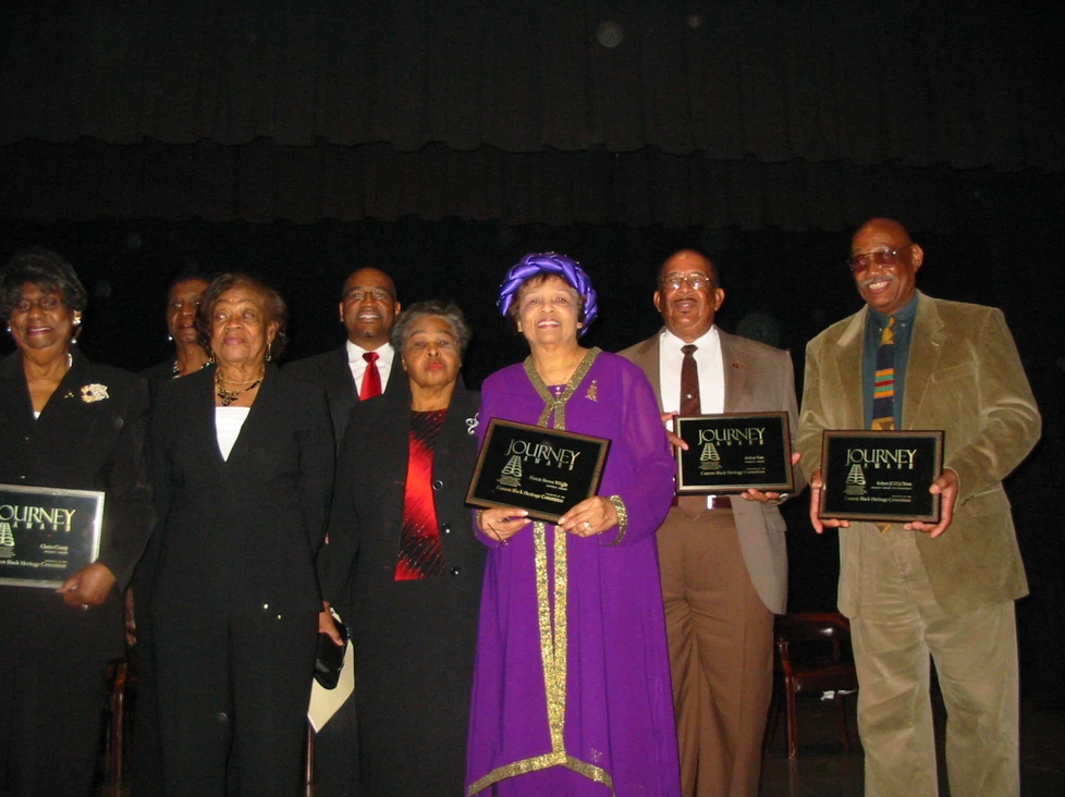 """""""Journey Award"""" recipients in Canton, MS after being presented awards including the late Clarice Coney, Flonzie, Arthur Tate, Sr. and C.O. Chinn, Jr., as Betty Robinson, Senator Kenny Wayne Jones looks on."""