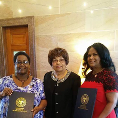 Mississippi State Representative Cathy Sykes and Representative Debra Gibbs honors Flonzie at the Mississippi State Capital.