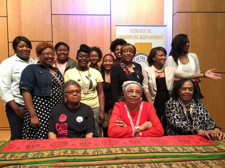 Flonzie, Attorney Constance Slaughter Harvey and Dr. Dorie Ladner meets students from New Horizon Church led by Gail Coney Smith.