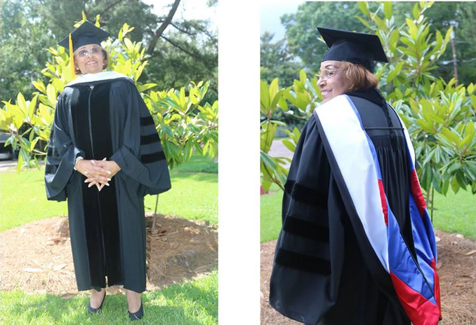 Flonzie poses after receiving an Honorary Doctorate of Humane Letters Degree from Tougaloo College, May 2018.
