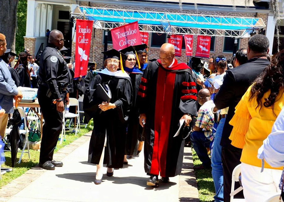 Dr. Beverly Hogan of Tougaloo College bestows an Honorary Doctorate of Humane Letters degree in May, 2018.