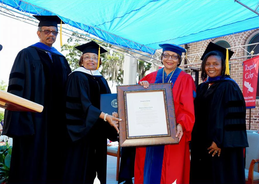 Dr. Beverly Hogan bestows an Honorary Doctorate of Humane Letters degree from Tougaloo College, May 2018.