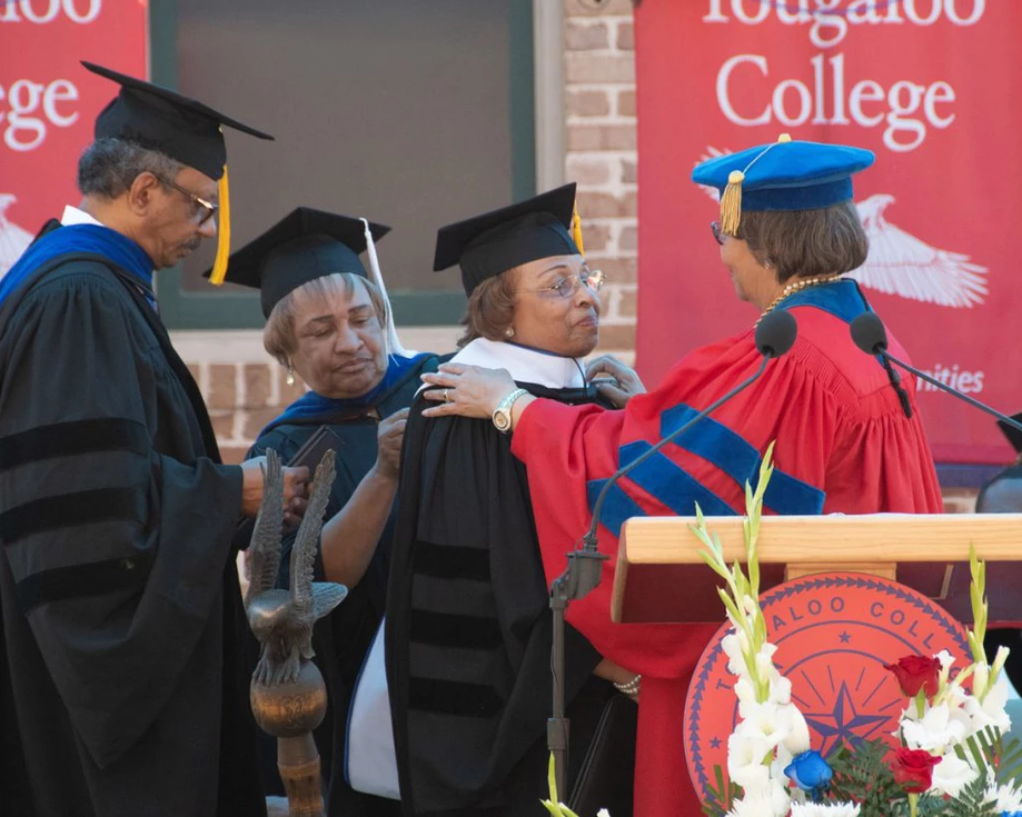 Dr. Beverly Hogan bestows an Honorary Doctorate of Humane Letters upon Flonzie at Tougaloo College, May 2018