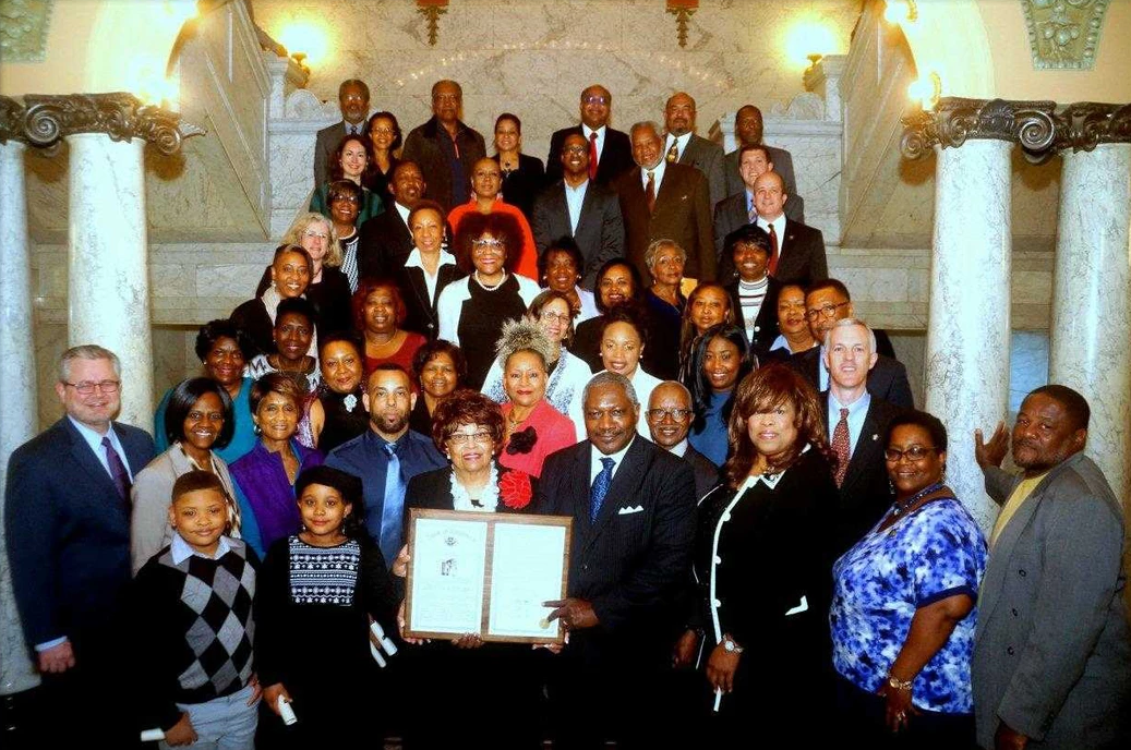 Senator John Horhn honors Flonzie in the Mississippi State Capital in recognition of her 50th Anniversary of her 1968 election.