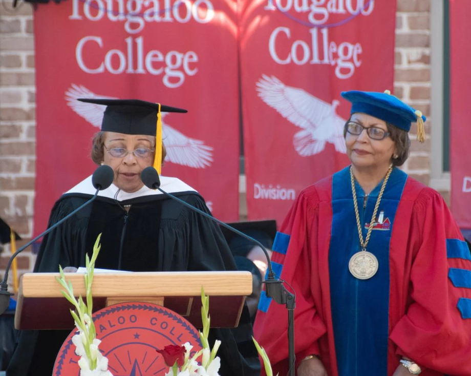 Dr. Beverly Hogan bestows a Doctorate of Humane Letters degree at Tougaloo College in May 2018.