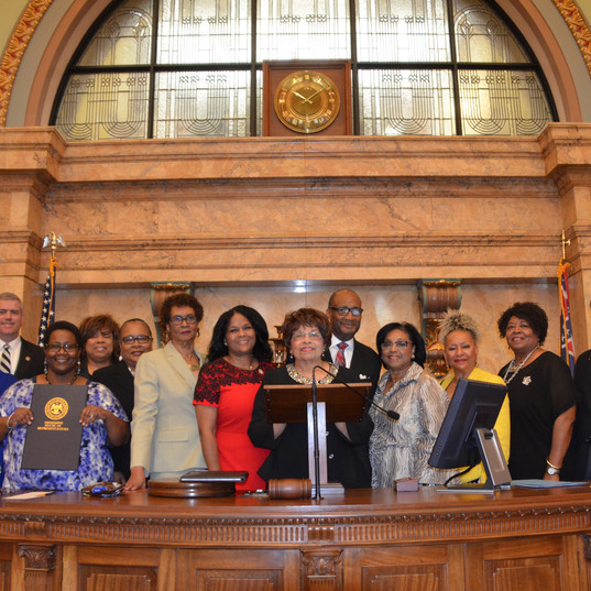 Flonzie being honored by the Mississippi House of Representatives at the State Capital led by Representative Kathy Sykes and Representative Debra Gibbs.