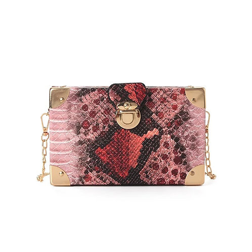 Chu'mana Snake Box Purse-Red