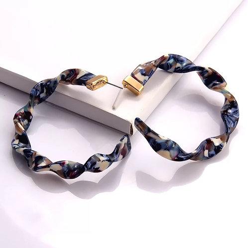 Twisted C's Hoop Earrings-Cocoa Denim